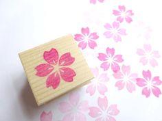 Flor de cerezo sello de goma flores de por JapaneseRubberStamps