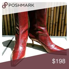 COLE HAAN Red Lizard Print Boot EUC! 🚫No Trades 🙄😘  💲Bundle & Save!💲😀 🔘Use OFFER button to negotiate👍🤑 ❔Please Ask ?'s BEFORE you Buy🤔😃 💕Thank you for stopping by! Happy Poshing!💕 Cole Haan Shoes Ankle Boots & Booties