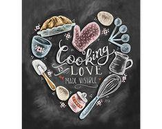Kitchen Decor - Kitchen Chalkboard Art - Gift for the Baker - Baking Art - Kitchen Art - Illustration Print - For the Bakery - Bakery Art - Holz: Schilder - Chalk Art Kitchen Chalkboard, Chalkboard Print, Chalkboard Signs, Chalkboards, Chalkboard Drawings, Chalkboard Lettering, Kitchen Prints, Kitchen Art, Kitchen Decor