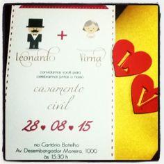 Convite de casamento civil para quem não quer gastar muito sem perder a beleza…