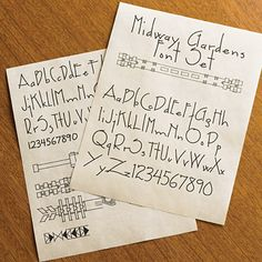 Love Wright's fonts. Based on the lettering found on the plans for Wright's Midway Gardens (Chicago, 1925), this font set includes 2 lettering fonts plus a set of over 150 decorative extras. $28
