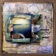 Riikka Kovasin - Paperiliitin: Myrskylintu - 7gypsies Maritime Collection - mixed media layout - Canvas Corp Brands #travelscrapbooking