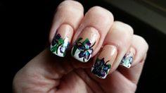 Dark purple flower nail art