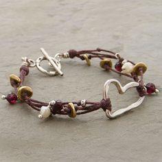 Multiple Strands and Silver Heart Bracelet by Elizabeth Plumb Jewelry