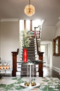 Love this entry with beautiful warm rich tones from wood & accessories.