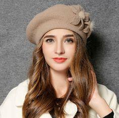 Handmade flower beret hat wool winter fisherman hats for women vintage style 801de9f0bfa