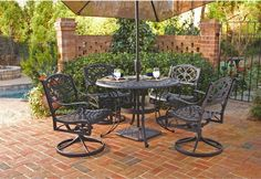 Outdoor Patio Furniture Cast Aluminum Black 5-piece 42-inch Dining Set Party New #Unbranded