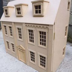 The Eaton House New Design wide Kit. Central stair treads with hallway, 6 rooms. Attic rooms wide x deep wide x deep. designed and built by us in Carmarthenshire, Wales by Dolls House Direct. Victorian Dollhouse, Diy Dollhouse, Dollhouse Bookcase, Dalton House, Doll House Plans, Dormer Windows, Front Door Design, Roof Panels, Attic Rooms