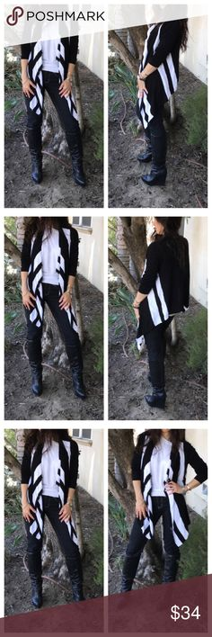 Black and white open knit cardigan Black and white draped open knit cardigan PLEASE Use the Poshmark new option you can purchase and it will give you the option to pick the size you want ( all sizes are available) BUNDLE and save 10% ( no trades price is firm unless bundled) Jackets & Coats