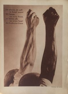 John Heartfield - Ob schwarz, ob weiss - im Kamps vereint!, Arbeiter Illustrierte Zeitung (Whether black or white -- united in the struggle!, from the Workers' Illustrated News), Vol. Caricature, Documentaries, Movie Posters, Photography, Surrealism, Illustrations, News, Black, Photomontage