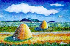 Bucovina landscape with UFO and hare by Ion Vincent Danu
