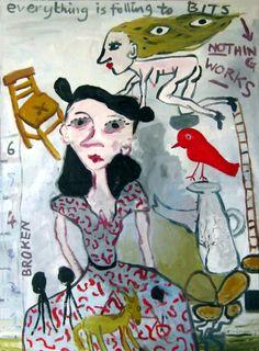 Scarlett - oil on canvas - Gary Goodman Rose Wylie, Funky Art, Outsider Art, Types Of Art, Figurative Art, Artist At Work, Oil On Canvas, Folk, Illustration Art