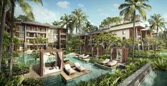 A fresh Balinese vacation experience offering luxury through craftsmanship and design inspired by tradition and contemporary ideas. Hotel Design Architecture, Architecture Visualization, Unique Architecture, Landscape Architecture, Adult Tree House, Forest Resort, Small Villa, Canggu Bali, Resort Villa