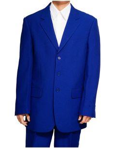 New Men's 3 Button Single Breasted Royal Blue Dress Suit