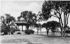 Common & Bandstand - Wakefield, MA    This postcard shows Wakefield's common and bandstand in the early 20th century. Lake Quannapowitt is in the background.