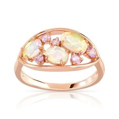 Bague or rose opale