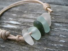 Sea Glass and Leather Bracelet - Natural sea glass jewelry