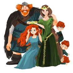 It's no wonder Elinor is stressed, a teenager and young triplets, and they're all red haired so at least we know Merida has a temper.