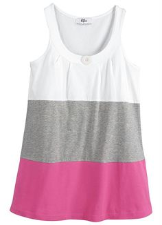 Regata de Malha Longo Rosa Color Blocking Outfits, Looks Plus Size, Tee Shirts, Tees, Outfit Sets, Knitted Fabric, Ideias Fashion, Clothes For Women, Tank Tops