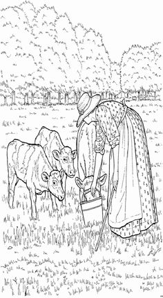 Country scenes coloring book coloring page 3 example for Farm scene coloring page