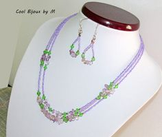Multistrand necklace Lavender necklace ametrine and crystals