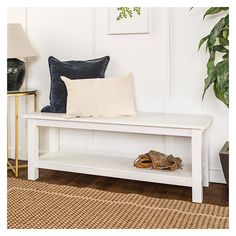 Country Style Entry Bench With Slatted Shelf - White - Saracina Home : Target Foyer Bench, Bench Decor, Entry Foyer, White Bench Entryway, Entryway Ideas, Hallway Ideas, Front Entryway Decor, Corridor Ideas, Garage Entryway