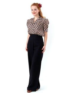 1940s Vintage Style Navy Blue Swing Trousers with Covered Buttons