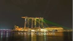 Timelapse view of the evening Laser Show of Marina Bay Sands.