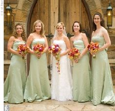 sage green brides maids dresses. the color I am looking for my brides maid dresses.  Color of the bouquets are almost identical to the colors I have. I think they look good together