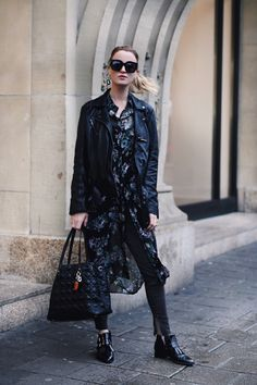 leather jacket floral dress black fashion blogger street style Amsterdam | Queen of Jet Lags