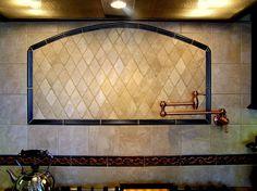 newsome tile liners backsplash | backsplash - Rhombus of crema marfil marble framed in bronzed tile ...