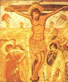 Christian art, UFO crucifixion detail A 17th century fresco from the Svetishoveli Cathedral in Mtskheta, Georgia. The two saucer shaped objects on either side of Christ contain faces, which can be seen in the detail image.