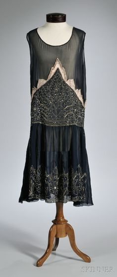 1920s Navy Blue Beaded Silk Dress, with inset pale pink silk panel and rhinestone, bead, and sequin accents