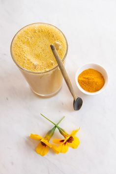 Anti-inflammatory Turmeric Smoothie *Apricot *Pineapple *Banana *Turmeric *Vanilla bean *Maca *Raw sprouted brown rice protein *Coconut water