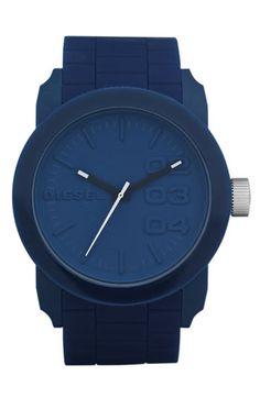 DIESEL® Silicone Strap Round Watch
