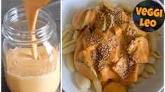 Vegane Käsesauce - ohne Öl - Rezept von Veggi Leo Cheesy Sauce, Free Youtube, Vegan Pasta, Raw Vegan, Vegan Food, Vegan Cheese, Chicken Wings, Dips, French Toast
