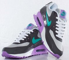 Nike Air Max 90 GS - Start Grey / Atomic Teal - Night Stadium.