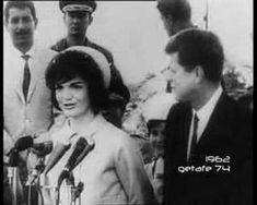 Jacqueline Kennedy, in Venezuela, speaking in Spanish to the crowd as her husband, John F. Kennedy, lovingly looks on. (video)