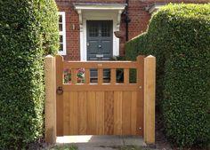 Iroko Hardwood Garden 'Slatted Belvoir' Gate on New Oak Posts Installed By Us In London