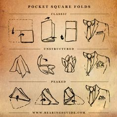 How to Fold a Pocket Square. http://www.bearingsguide.com/wp-content/uploads/2012/07/pocketsquare-web.jpg