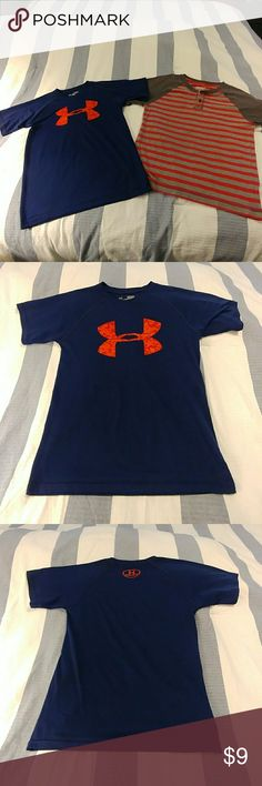 Boys 2 pc lot Under Armour and Arizona shirts This is a deal on two boys shirts. One is Under Armour which is a dark blue with the orange logo on the front chest and the back neck. It is a size small loose. This fit my son when he was wearing a 10/12. The other shirt is Arizona brand grey and red. It is a size medium which is a 10/12. No stains or holes. These are from a smoke-free and pet-free home. Under Armour Shirts & Tops Tees - Short Sleeve