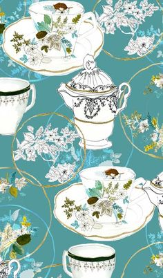 i very much love the hand drawn vibe of this teacup pattern