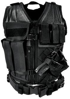 NcStar Tactical Vest Black Large Constructed of Tough PVC Larger size for and Fitting over Winter Clothing or Body Armor 4 Pistol Magazine Pouches, 3 Rifle Magazine Pouches, 1 Utility Pouch, and a Fully-adjustable Cross Draw Pistol Holster, Front Zipper Tactical Vest, Tactical Clothing, Warrior Clothing, Tactical Watch, Swat Police, Police Gear, Pistol Holster, Holsters, Military Special Forces