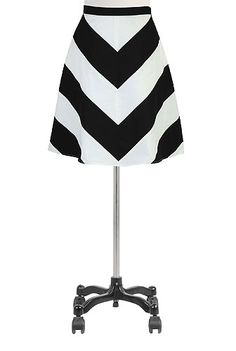 Chevron stripe poplin skirt