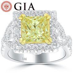 3.78 Carat GIA Certified Natural Fancy Yellow Diamond Engagement Ring 14k Gold #LioriDiamonds #DiamondEngagementRing