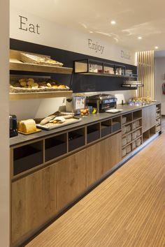 Hotel Breakfast Buffet, Hotel Buffet, Breakfast Cafe, Breakfast Restaurants, Cafe Restaurant, Restaurant Design, Modern Bar, Cafe Design, Kitchen Interior