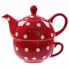 Ceramic Polka Dot Red and White Tea for one Red And White Kitchen, Red Kitchen, Kitchen Walls, Tea For One, My Tea, Red Dots, Polka Dots, Teapots And Cups, Cupping Set