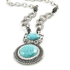 Antique Silver and Turquoise Necklace