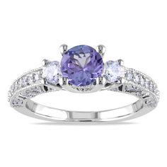 Miadora 14k White Gold 1/2ct TDW Diamond Violet Tanzanite Ring (G-H, I1-I2)