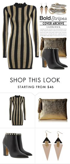 """""""Big, Bold Stripes 2984"""" by boxthoughts ❤ liked on Polyvore featuring Balmain, Loeffler Randall, Valentino, Toolally, SPINELLI KILCOLLIN and BoldStripes"""